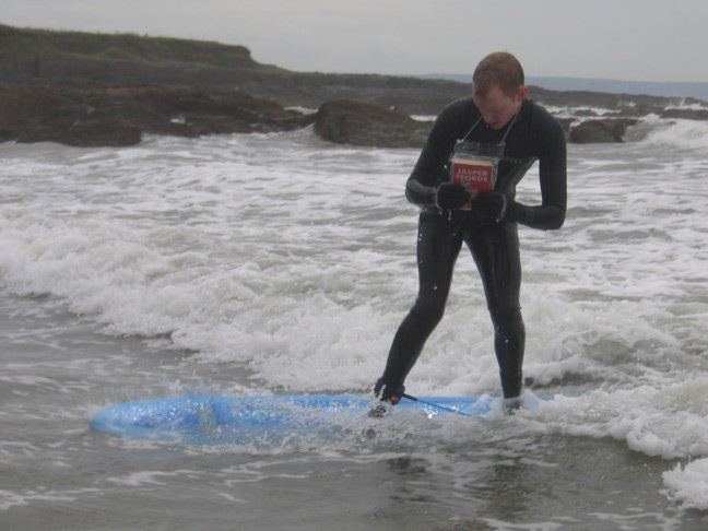 Mike Simonds surfs with a copy of TN1
