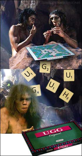 Neanderthals playing Scrabble
